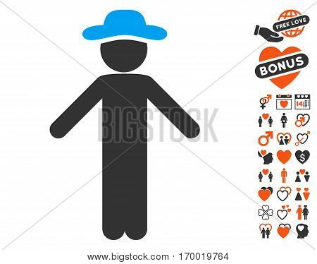 Gentleman Apology pictograph with bonus romantic images. Vector illustration style is flat iconic elements for web design app user interfaces.