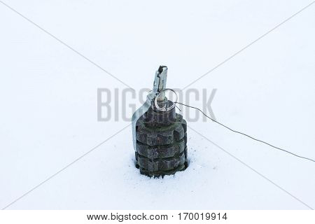 Soviet anti-personnel mine in the snow,  USSR