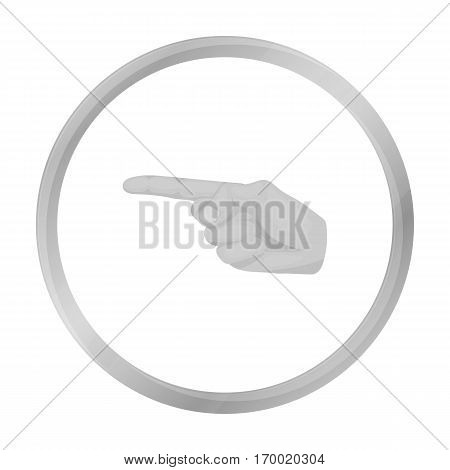 Index finger icon in monochrome style isolated on white background. Hand gestures symbol vector illustration.