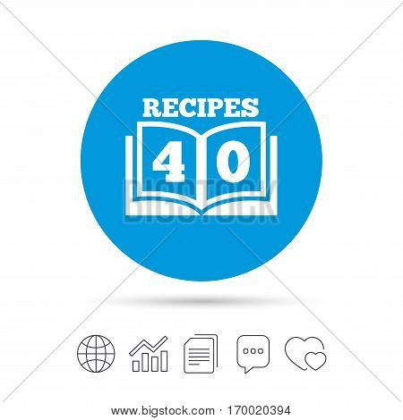 Cookbook sign icon. 40 Recipes book symbol. Copy files, chat speech bubble and chart web icons. Vector