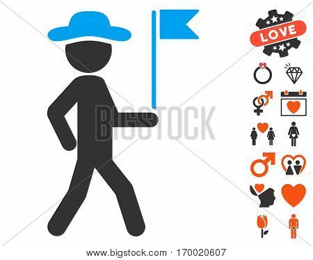 Gentleman Flag Guide pictograph with bonus lovely pictograph collection. Vector illustration style is flat iconic elements for web design app user interfaces.
