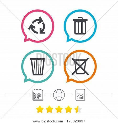Recycle bin icons. Reuse or reduce symbols. Trash can and recycling signs. Calendar, internet globe and report linear icons. Star vote ranking. Vector