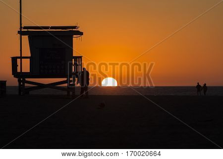 A beautiful sunset on Venice Beach, California