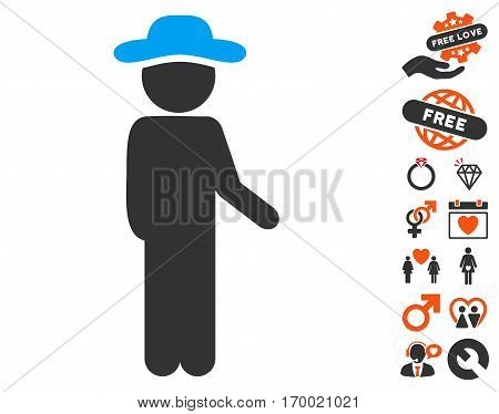 Gentleman Idler icon with bonus dating clip art. Vector illustration style is flat iconic symbols for web design app user interfaces.