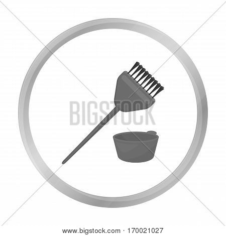 Hair coloring brush icon in monochrome style isolated on white background. Hairdressery symbol vector illustration.