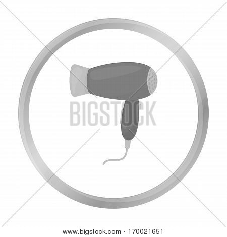 Hair dryer icon in monochrome style isolated on white background. Hairdressery symbol vector illustration.