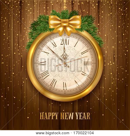 New Year is coming. Vintage golden clock with 2017 digits on wooden background with golden glitters. Vector illustration.
