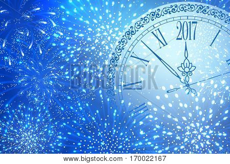New Year shining banner. Clock with inscription Happy New Year and 2017 digits with festive fireworks on blue night sky background. Vector illustration.