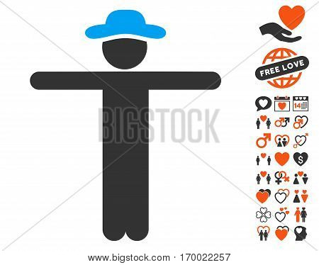 Gentleman Scarescrow icon with bonus passion pictograms. Vector illustration style is flat iconic symbols for web design app user interfaces.