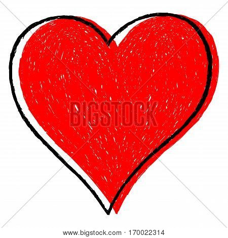 Sketch drawing red heart sign with black line contour. Quick and easy re-colorable shape. Vector illustration a graphic element