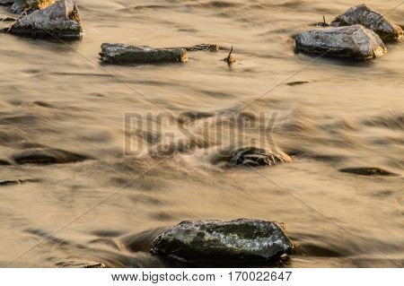 Landscape of a river with a rocky riverbed