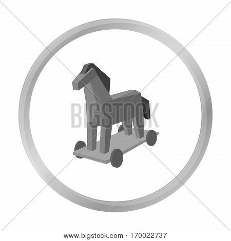Trojan horse icon in outline design isolated on white background. Hackers and hacking symbol stock vector illustration.