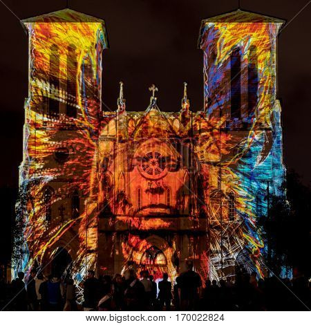 San Antonio United States: January 21 2017: San Fernando Cathedral with Native American Light Show