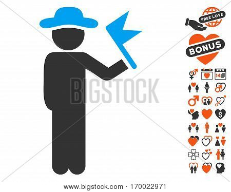 Gentleman With Flag pictograph with bonus love icon set. Vector illustration style is flat iconic symbols for web design app user interfaces.