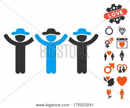 Gentlemen Hands Up Roundelay icon with bonus decoration pictograms. Vector illustration style is flat iconic symbols for web design app user interfaces.