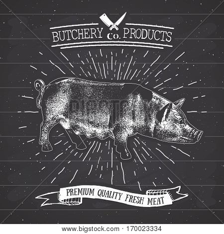 Butcher Shop Vintage Emblem Pork Meat Products, Butchery Logo Template Retro Style. Vintage Design F