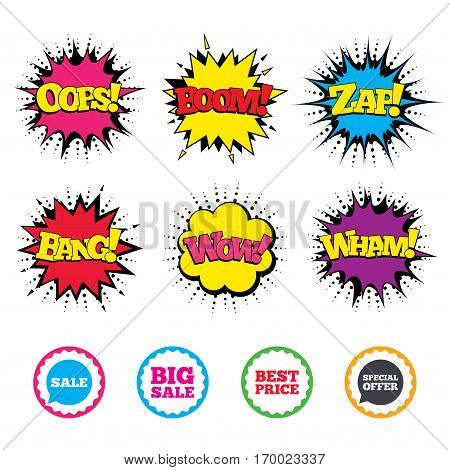 Comic Wow, Oops, Boom and Wham sound effects. Sale icons. Special offer speech bubbles symbols. Big sale and best price shopping signs. Zap speech bubbles in pop art. Vector