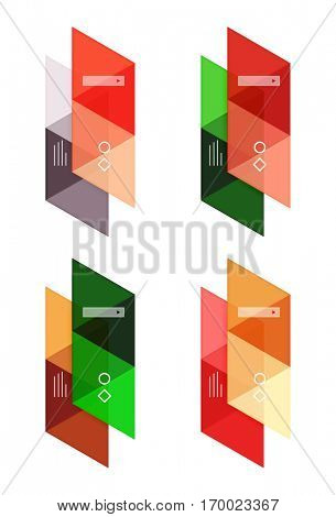 Vector set of blank geometric infographic web boxes created with triangles. Backgrounds for workflow layout, diagram, number options or web design