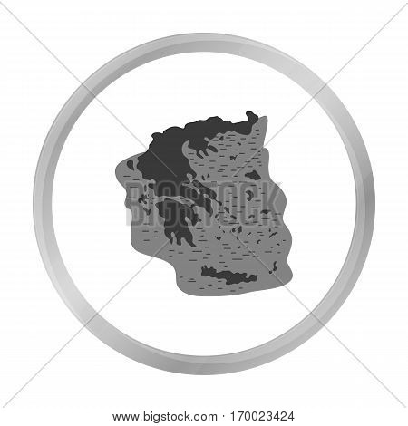 Greece territory icon in monochrome style isolated on white background. Greece symbol vector illustration.