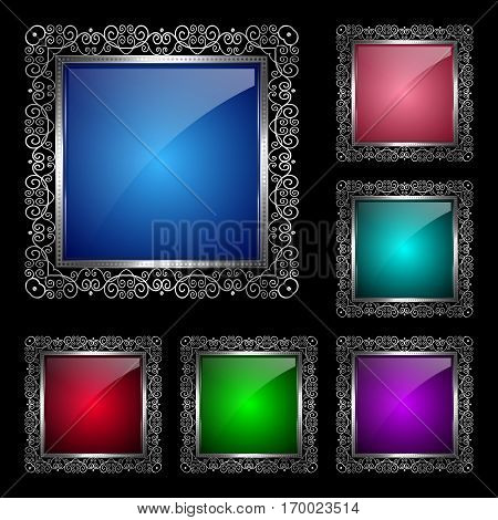 Glossy square frame in a silver rim. Vector Illustration for greeting card
