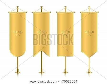 Golden elegant vertical flag mockups with strokes, isolated on a white background. Set of golden vector banner flag templates hanging on a poles.