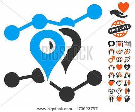 Geo Trends pictograph with bonus decorative pictograph collection. Vector illustration style is flat iconic elements for web design app user interfaces.