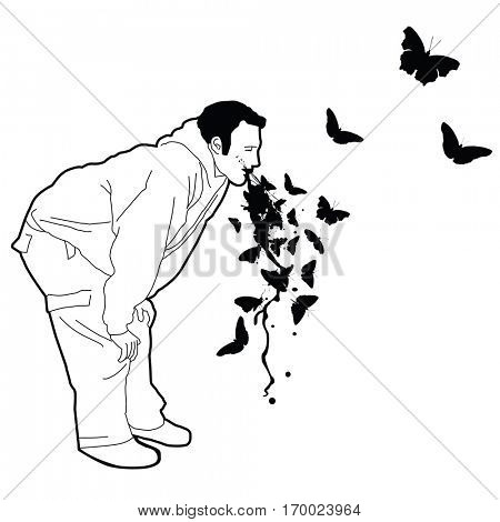 man puking butterflies  cartoon