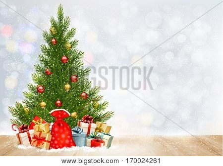 Holiday Christmas background with a sack full of gift boxes and Christmas tree. Vector.