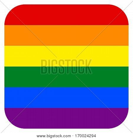 Rainbow pride flag LGBT movement in square shape. Quick and easy re-colorable shape. Vector illustration a graphic element.