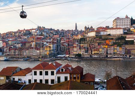 Amazing view of Porto old town and Duoro river, Portugal.