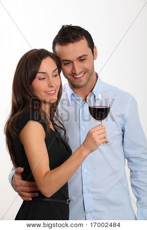 Couple tasting red wine