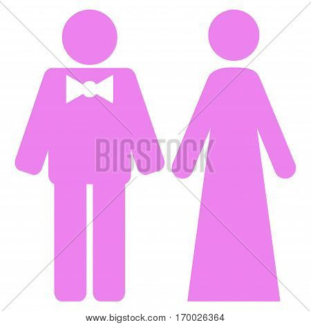 Just Married Persons vector icon symbol. Flat pictogram designed with violet and isolated on a white background.