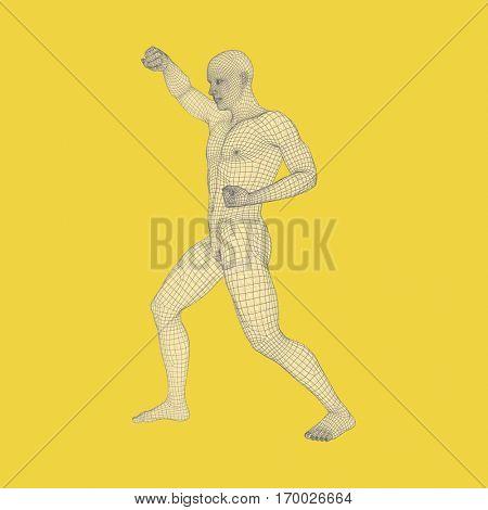 Fighter. 3D Model of Man. Human Body. Sport Symbol. Design Element. Vector Illustration.