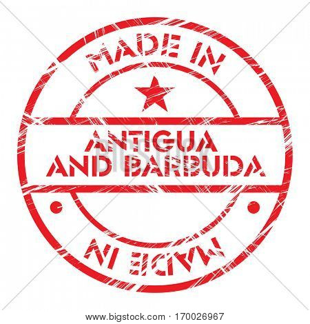 Made in Antigua and Barbuda grunge rubber stamp