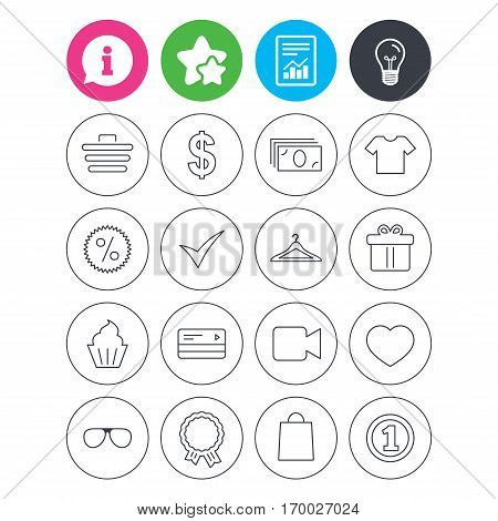 Information, light bulb and report signs. Shopping icons. Shopping cart, dollar currency and cash money. Shirt clothes, gift box and hanger. Credit or debit card. Favorite star symbol. Flat buttons