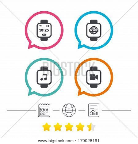 Smart watch icons. Wrist digital time watch symbols. Music, Video, Globe internet and wi-fi signs. Calendar, internet globe and report linear icons. Star vote ranking. Vector