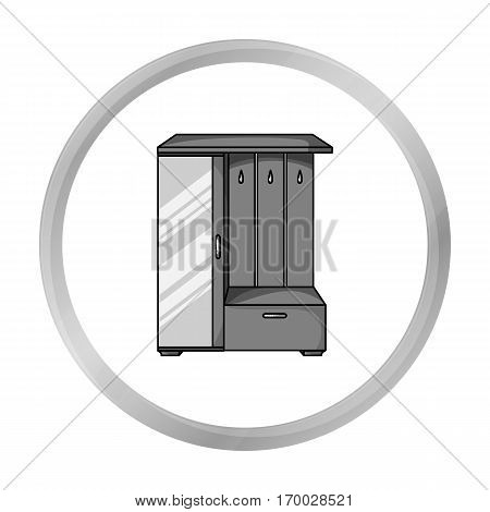 Vestibule wardrobe icon in monochrome style isolated on white background. Furniture and home interior symbol vector illustration.