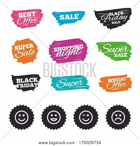 Ink brush sale banners and stripes. Smile icons. Happy, sad and wink faces symbol. Laughing lol smiley signs. Special offer. Ink stroke. Vector