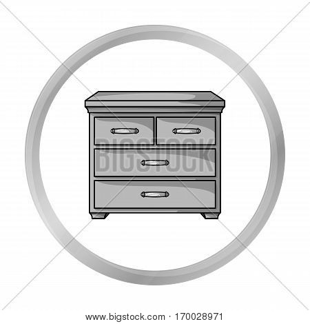 Wooden cabinet with drawers icon in monochrome style isolated on white background. Furniture and home interior symbol vector illustration.