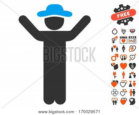 Hands Up Gentleman icon with bonus decoration pictograms. Vector illustration style is flat iconic symbols for web design app user interfaces.