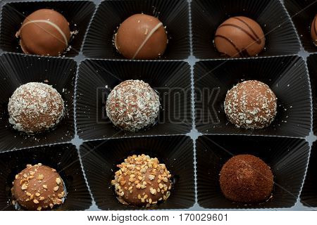Various chocolates in a tray bonbons with different topping and filling
