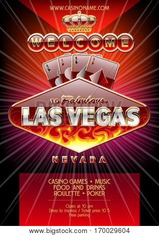 Vector exclusive flyer for party in casino in Las Vegas