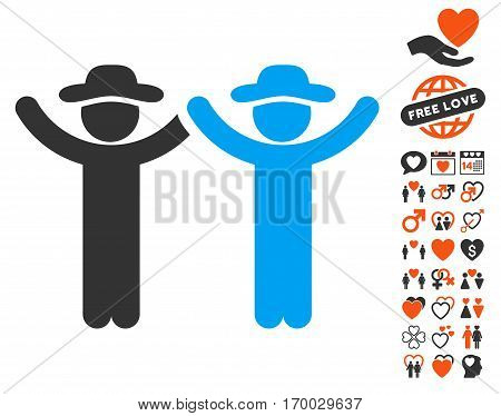Hands Up Gentlemen pictograph with bonus amour clip art. Vector illustration style is flat iconic symbols for web design app user interfaces.