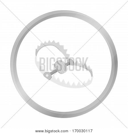 Trap icon in monochrome style isolated on white background. Hunting symbol vector illustration.