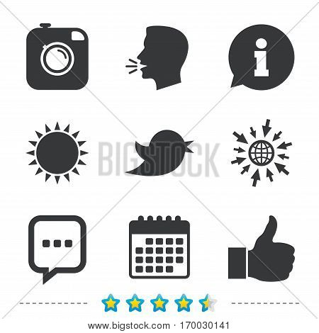 Hipster photo camera icon. Like and Chat speech bubble sign. Hand thumb up. Bird symbol. Information, go to web and calendar icons. Sun and loud speak symbol. Vector