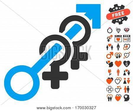 Harem pictograph with bonus passion pictograms. Vector illustration style is flat iconic elements for web design app user interfaces.