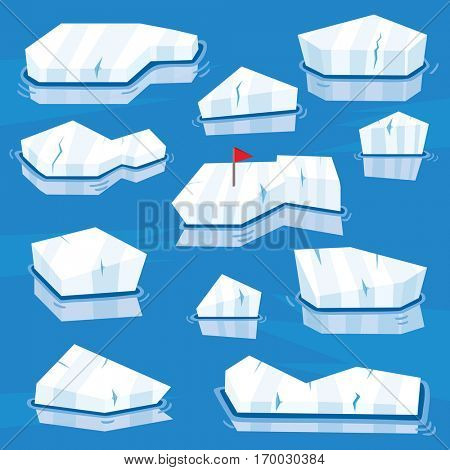 Cartoon Icebergs Set. Vector Illustration. Detail for Game Design. Arctic Level.