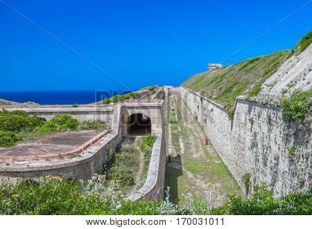 La Mola Fortress of Isabel II in Mahon harbor, Menorca island, Spain.