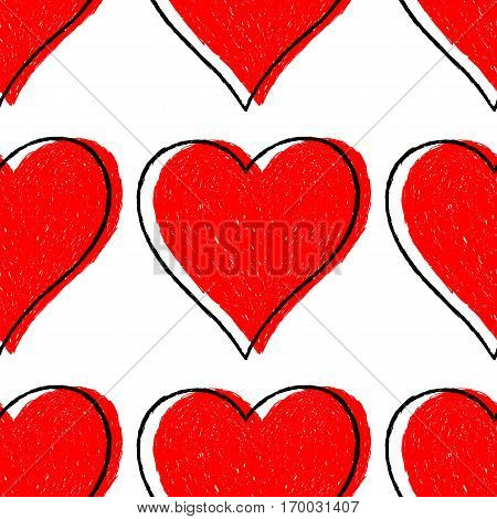 Sketch drawing seamless pattern with red heart sign with black line contour. Quick and easy recolorable shape. Vector illustration a graphic element.
