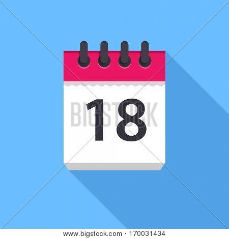 Calendar icon. Flat Design icon. Calendar on blue background. 18 day